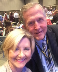 Jeannie Eatman Kaled and Norman Asbjornson supporting Tulsa Gymnastics at Olympic Gold Gala 2017