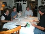 Stuffing envelopes, Katie Stickle Alfred, Sarah Alfred (Katie's daughter), Ira Smith, Steve Bell